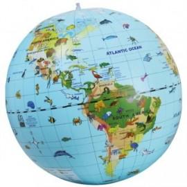 Globo terráqueo inflable con animales 45cm idioma inglés