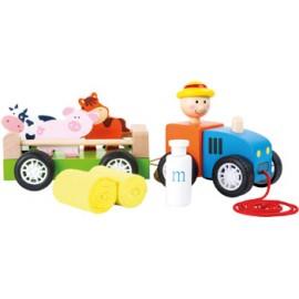 Tractor, granjero y animales para arrastrar