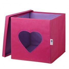 Cubo de almacenaje Corazón Fucsia