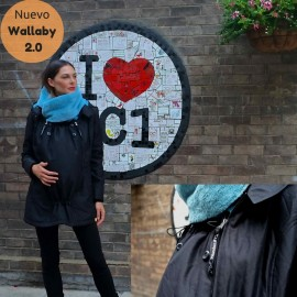 Abrigo de porteo y embarazo Wallaby 2.0 Negro y azul, Wombat & Co.
