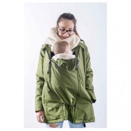 Abrigo de porteo y embarazo Wallaby 2.0 Verde y beige, Wombat & Co.