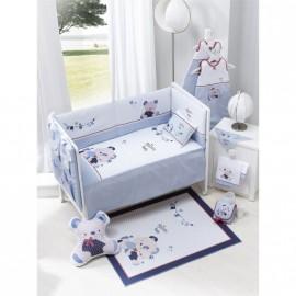 Conjunto cuna 3 piezas Friends Baby azul, Interbaby