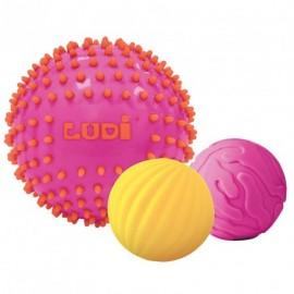 3 Pelotas sensoriales Rosa-amarillo, Ludi
