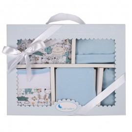 Set de regalo 5 piezas Recién nacido Animalitos azul, Interbaby