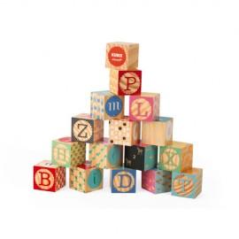 Kubix - 16 cubos grabados con el alfabeto, Janod