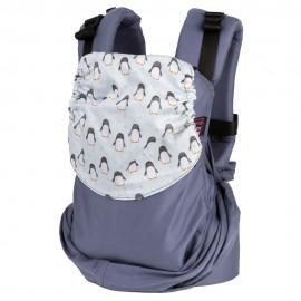 Mochila ergonómica Emeibaby Easy Azul con capucha Pingüinos