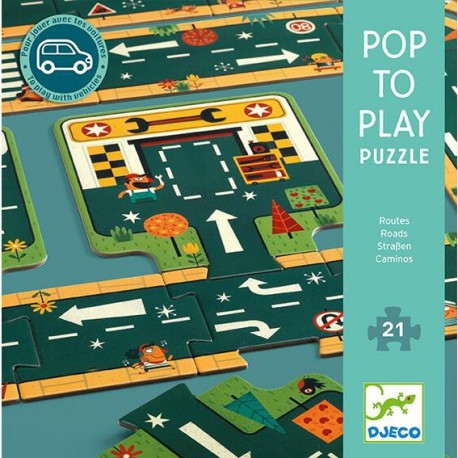Puzzle Pop to play Carreteras 21 pz., Djeco