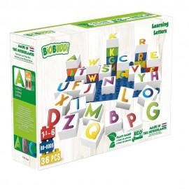 Bloques ecológicos Aprendiendo letras 35 piezas + 1 base, BioBuddi