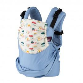 Mochila ergonómica Emeibaby Easy Azul pastel con capucha Setas