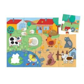 Puzzle gigante táctil La granja 20 pzs., Djeco