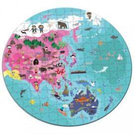 Puzzle 208 piezas niños y animales del mundo, Janod