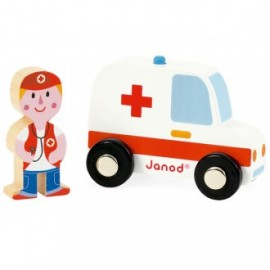 Ambulancia y doctor de madera story city