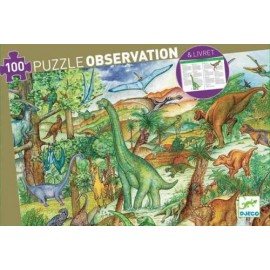 Puzzle Observación Dinosaurios 100 pzs., Djeco