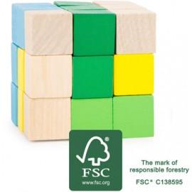 Rompecabezas Cubo de construcción azul-verde